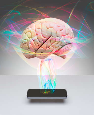 Human brain communicating with smart phone Banco de Imagens