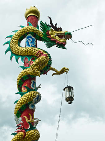 A pillar of dragon in Chinese temple photo