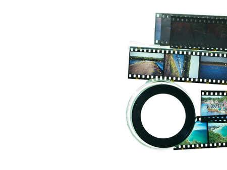 slide glass: Slide film and magnifying glass loop