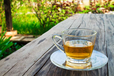 afternoon break: A cup of tea on wood table in the garden
