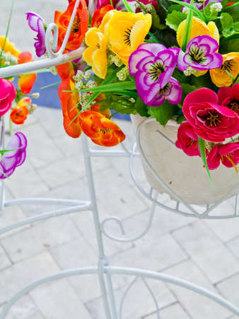 Artificial bouquet for decoration in the bicycle model's basket Stock Photo - 9642642