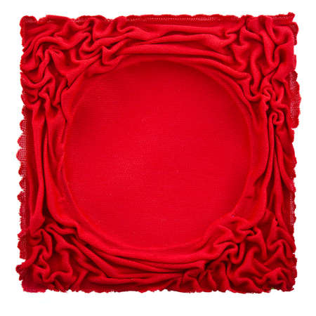 pleat: Red fabric frame with pleat design