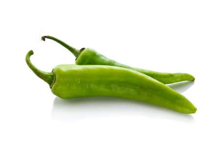 Green chili isolated on white background photo