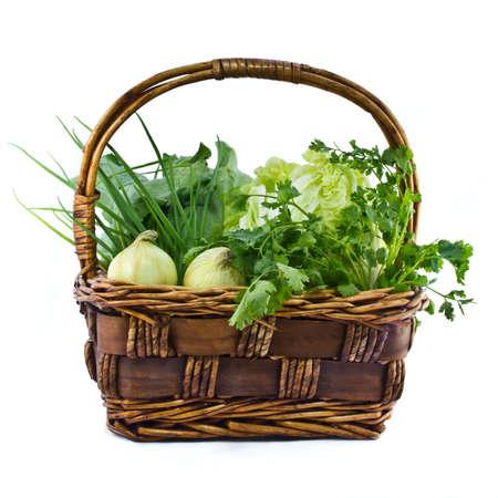 Tropical vegetable in handmade weaved basket photo
