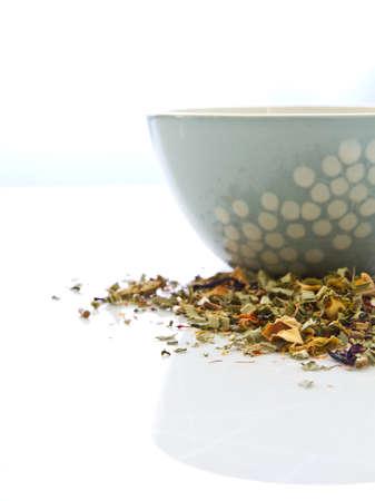 Herbal tea with gray bowl photo