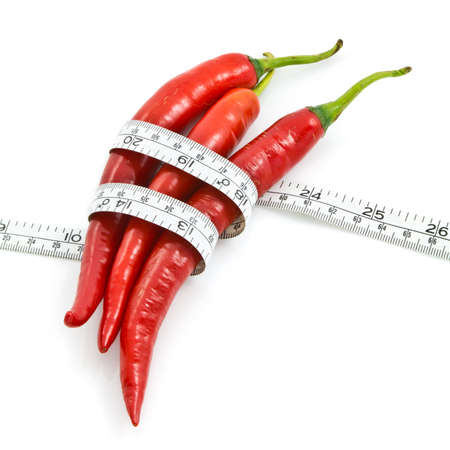chilly: Long red chili wrapped by measure tape