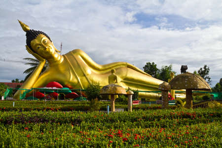reclining: Huge reclining Buddha statue in the temple Stock Photo