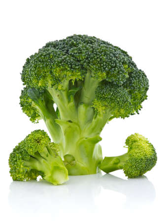 Sliced broccoli on white background