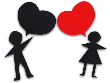 Couple talking with heart speech bubbles photo