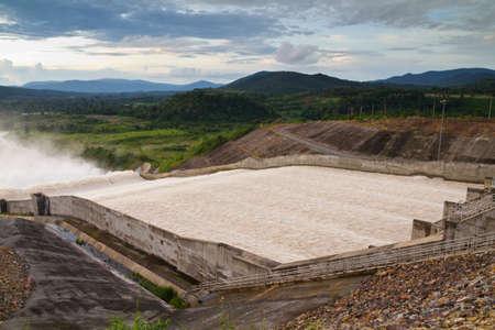 hydrology: Water distribution at Kwai Noi Dam, Thailand Stock Photo