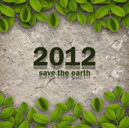 2012 with creepers and sandstone background for ecology concept Stock Photo - 10836826