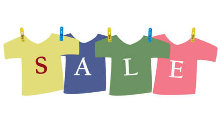 Sale on t-shirt with clothespin