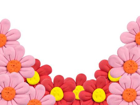 framing: Plasticine flowers framing on white background