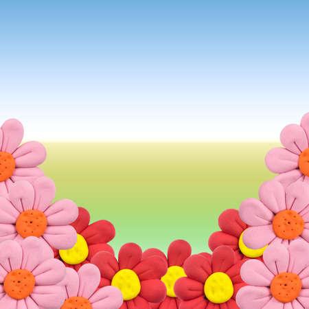 framing: Plasticine flowers framing  Stock Photo