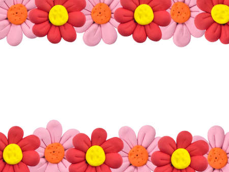 plasticine: Flowers border made from child play Stock Photo