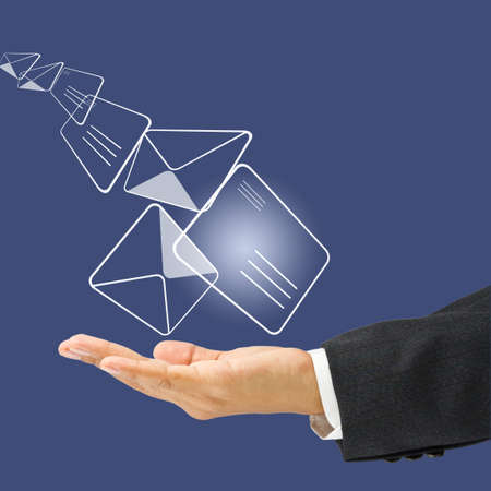 sender: Businessman sending or receiving the mail icon Stock Photo