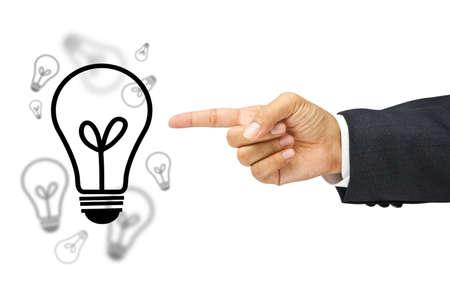 Businessman point the light bulbs isolated  Stock Photo - 11017802