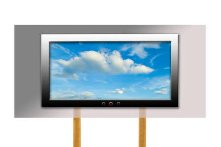 Sky in wide screen TV on wood stand photo