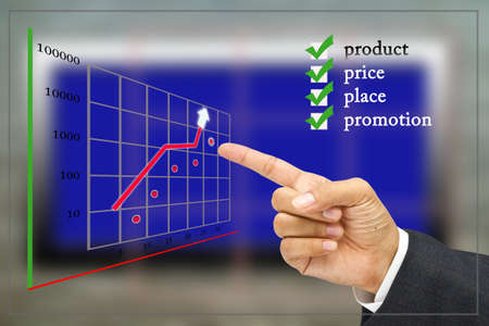Hand point at the graph with marketing plan photo
