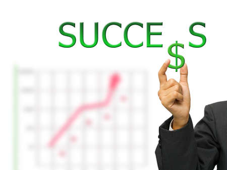 Hand hold dollar icon of success word photo