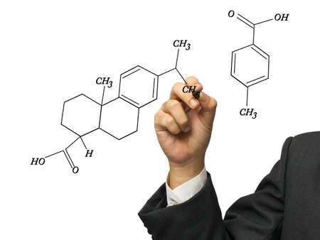 Hand write a chemistry formula on white background photo