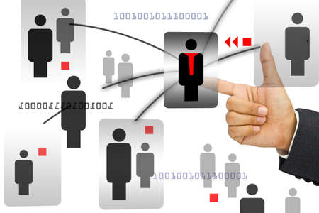 Hand with hunam icons for network concept Stock Photo - 11255636
