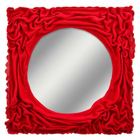 Magic Mirror, Red Cloth Frame With Gradient Gray Background Stock ...