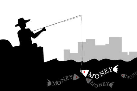 Man fishing the money fish in silhouette photo