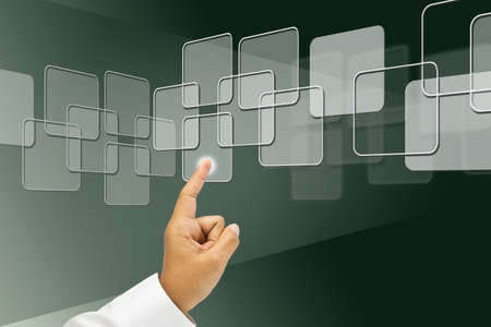 Business's hand press the touch screen Stock Photo - 11255651