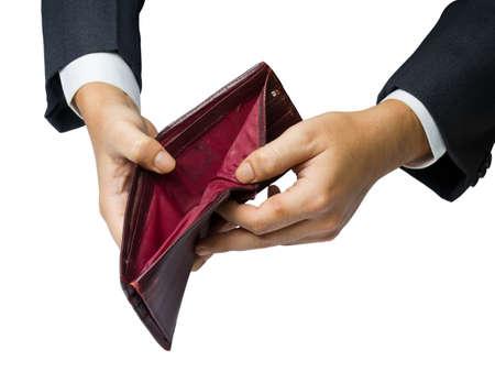 N'ayant pas de concept de l'argent (la main montrent un vieux portefeuille)