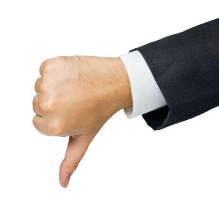 pulgar abajo: Empresas del pulgar de la mano muestran abajo