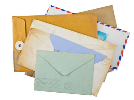 Various of old and dirty envelopes isolated on white background photo