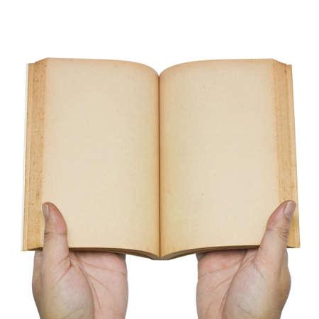 libros abiertos: De mano abierta, las p�ginas en blanco de libro antiguo Foto de archivo