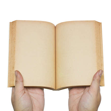 Hand open blank pages of old book photo