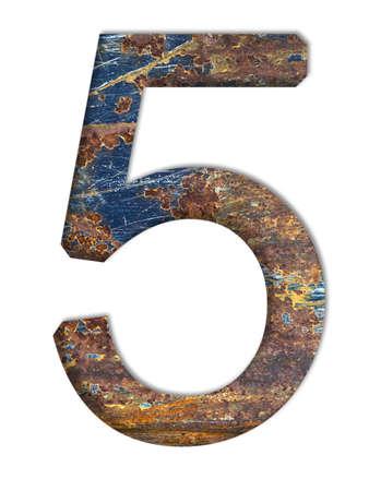 rust: Number 5 in rust textured Stock Photo