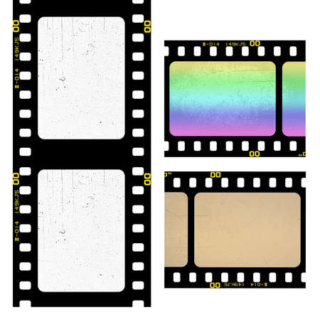 Set of old filmstrip isolated on white photo