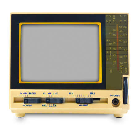 Retro mini television isolated on white background photo