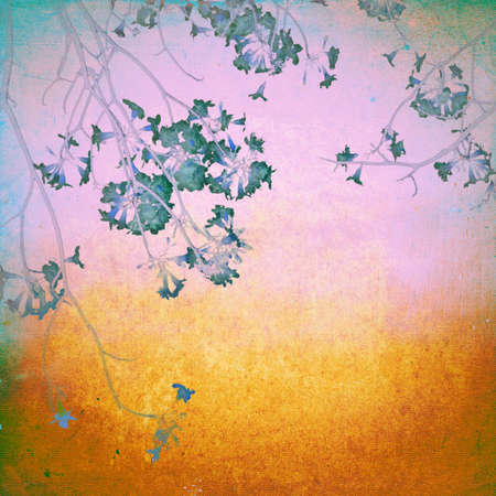 Grunge blossom flower on canvas texture photo