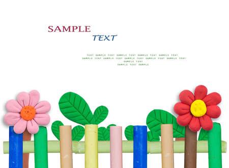 borde de flores: Bonito jard�n hechas de plastilina y palillos pastel