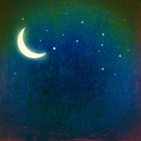 Grunge image of night sky with crescent moon and stars