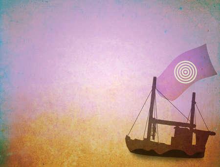Grunge background, sailing ship on canvas texture photo