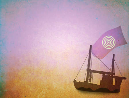 Grunge background, sailing ship on canvas texture photo