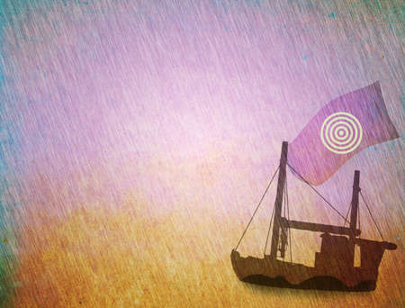 Grunge background, ship sailing in the storm concept photo