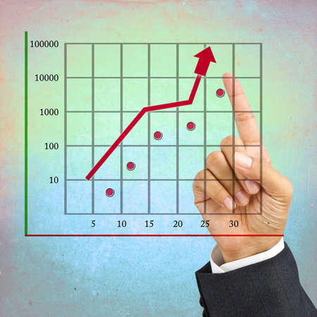 Hand point at the top of the graph on color wall photo