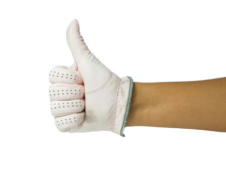 arm up: Hand in golf glove show thumb up isolated on white background Stock Photo