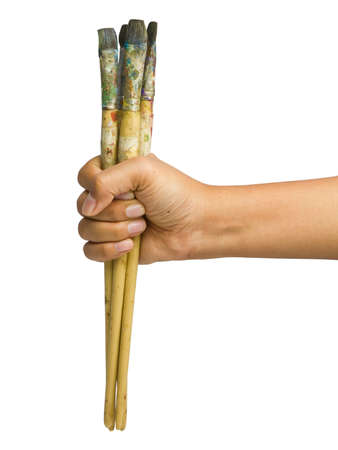 stretch out: Arm stretch out with paintbrush in hand
