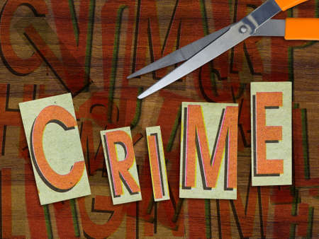 assassinate: Crime in cut paper with scissors Stock Photo
