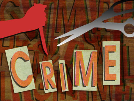 assassinate: Crime in cut paper with knife in hand and scissors