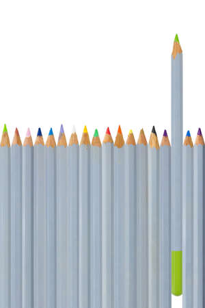 Choosing color, pencil isolated on white background