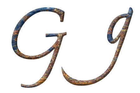 Capital and small letter G in rusty iron photo
